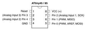 Pinout ATtiny45 / 85