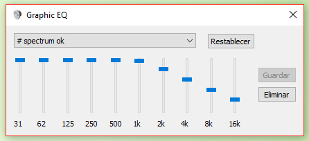 Ajustes del ecualizador para el Spectrum ZX+